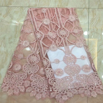 Nigerian Lace Fabric 2018 High Quality 3d Flowers Fabric African lace fabric Mesh Lace Fabric With sequins for wedding XC74-59