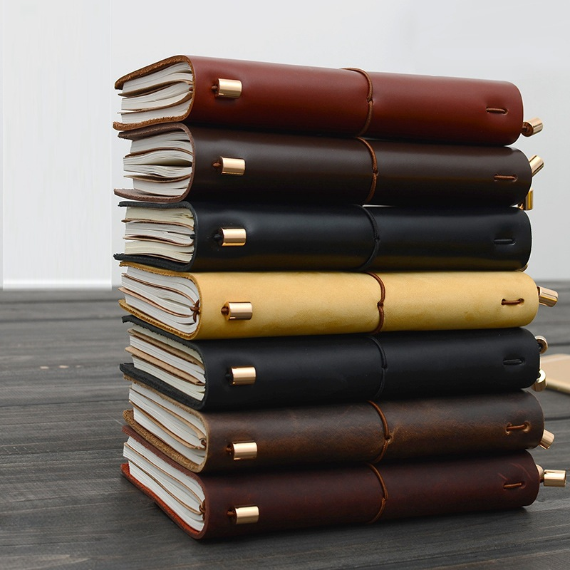 Traveler Notebook Journal Vintage Leather Spiral Diary Old Style Pocket Size Classic Soft Copybook
