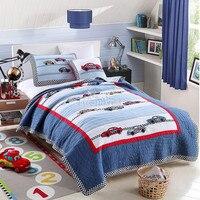 100% Cotton Bedspread Pillow Cases Twin Size Quilt Cartoon Bed Cover For Children Hot Sale Coverlet Set 2pcs