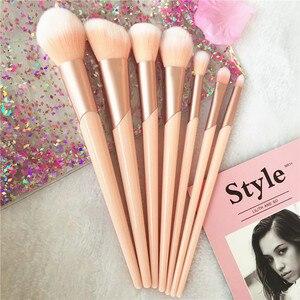 Image 2 - Juego de brochas de maquillaje con mango de oro rosa, 7 Uds. De brochas de maquillaje, polvo de base, colorete, sombra de ojos, labios, belleza facial