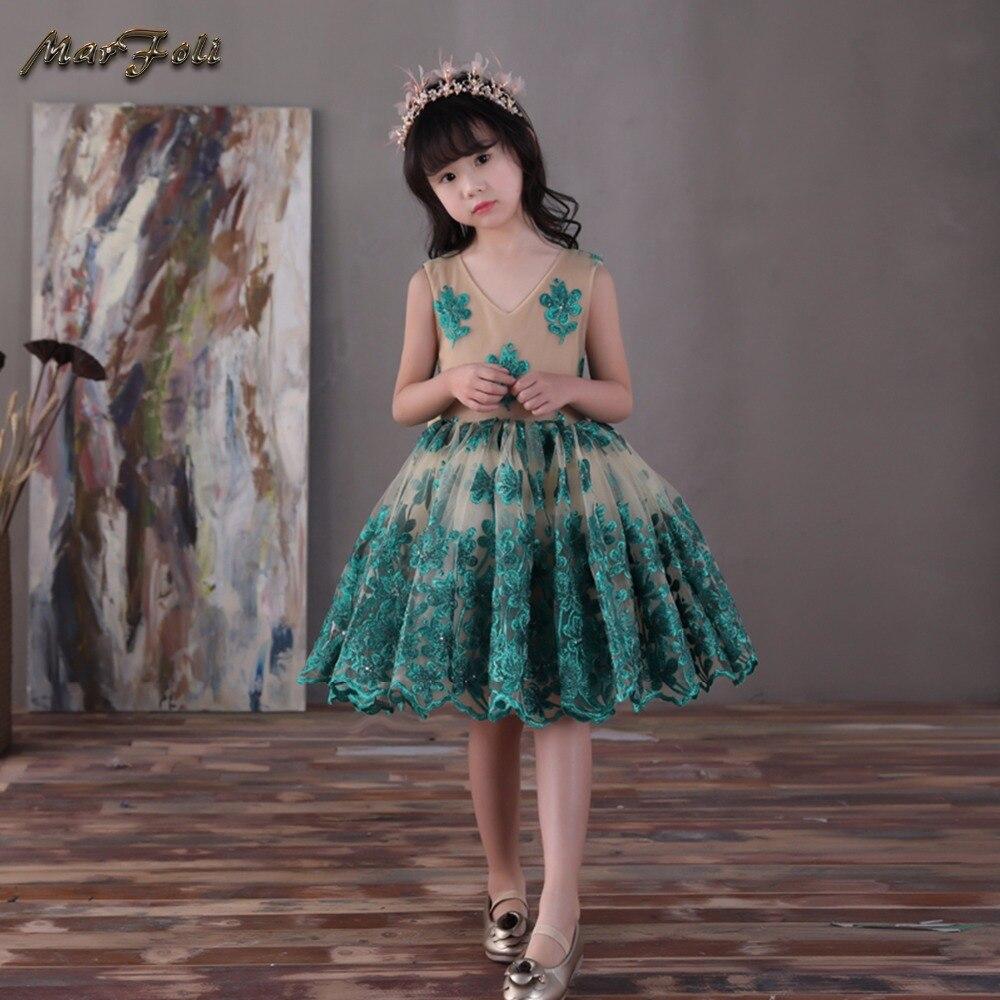 Marfoli Flower Girl Dress Pink Rose Wedding Pageant Kids Boutique 2017 Summer Princess Party Dresses Clothes ZT0068 marfoli girl princess dress birthday