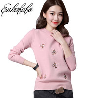 6 Colors Sweaters Women 2017 Hot Sale Winter Embroidery Monkey O Neck Long Sleeve Pullovers Knitted