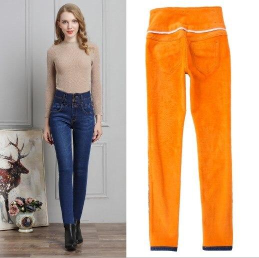 Осень-зима с флисовой подкладкой модные Высокая Талия Джинсы для женщин женские джинсовые узкие брюки Для женщин обтягивающие джинсы цвет: ...