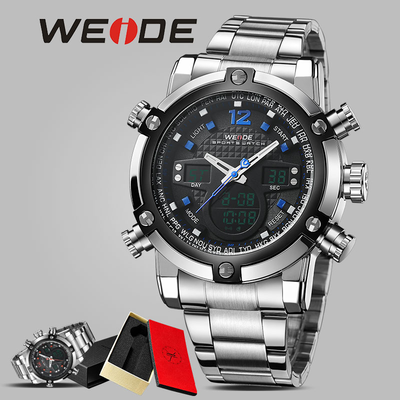 WEIDE mens watches sports watch LED digital electronic quartz stainless steel waterproof watch alarm clock wrist watch camping weide clock men digital double display watch srainless steel bracelets quartz sport 3amt waterproof electronic wrist led watches