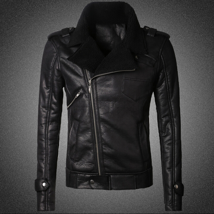 Artificial fur thick warm autumn winter mens brand fashion new short section black leather motorcycle jacket Slim leather coat