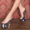 Ночной клуб сексуальные туфли женщина мода туфли на высоком каблуке прозрачный кристалл сандалии шику звезда платформы горки большой размер 17 см высокие каблуки