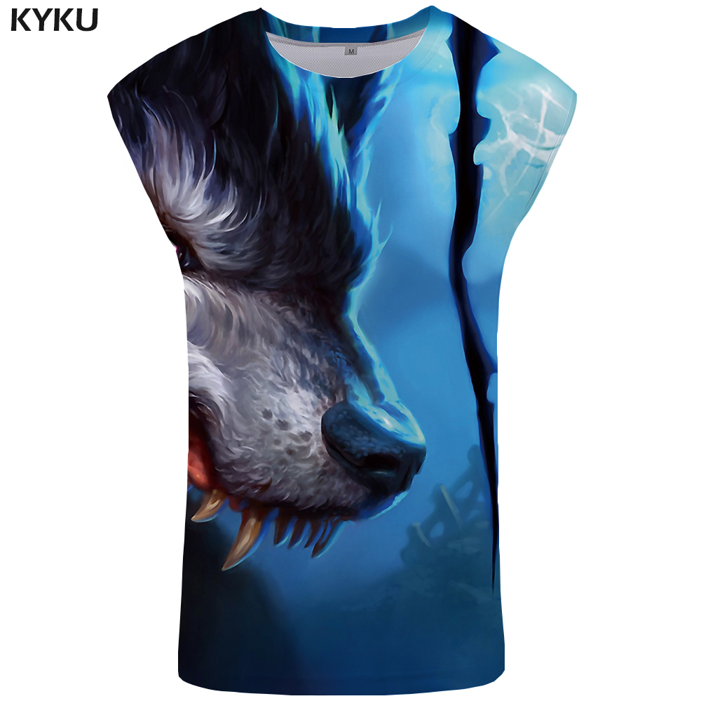 KYKU Brand Wolf Tank Top Men Flame Singlet Forest Vest  Ftness Clothing Harajuku Undershirt Animal  Sleeveless Shirt muscle Tops