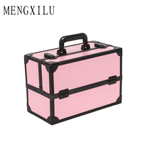 MENGXILU Brand New Women Waterproof Cosmetic Bag Jewelry Storage Box Travel Beauty Kits Organizer Suitcase Portable Makeup Bags