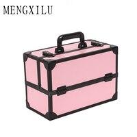 MENGXILU Brand New Women Waterproof Cosmetic Bag Jewelry Storage Box Travel Beauty Kits Organizer Suitcase Portable Makeup Bags
