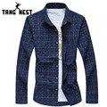 Tangnest camisa 2017 nueva moda a cuadros de manga larga camisa de los hombres ocasionales de un solo pecho turn-down collar chemise homme mcl1861