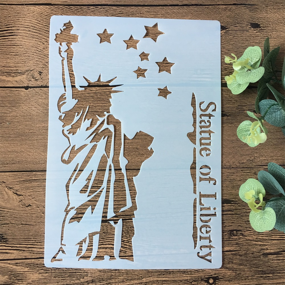 A4 Statue Of Liberty DIY Layering Stencils Painting Scrapbook Coloring Embossing Album Decorative Paper Card Template