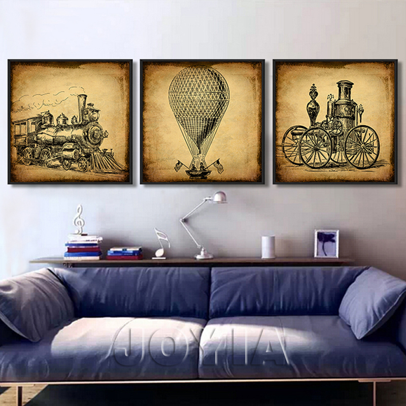 Vintage Wall Decor For Living Room : Piece vintage calligraphy painting train car early oil