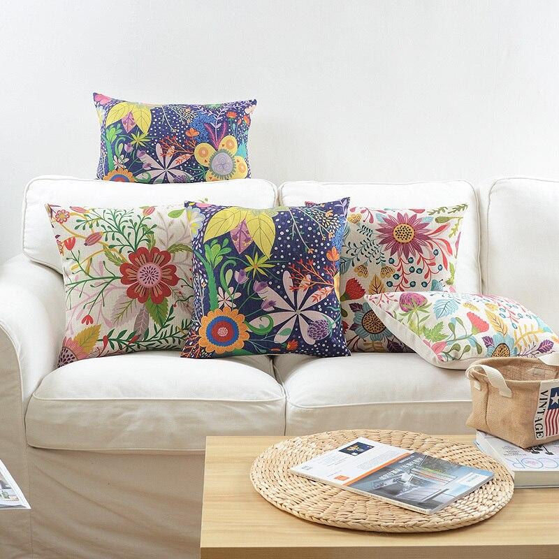 Pillow Cover Vintage Natural Style Colorful Gardon Floral Bird Cushion Cover Home Decorative Pillow Case 45x45cm