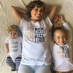 Super famiy matching t shirt mom kids tee baby letter bodysuit newborn infant babies boys girls.jpg 250x250