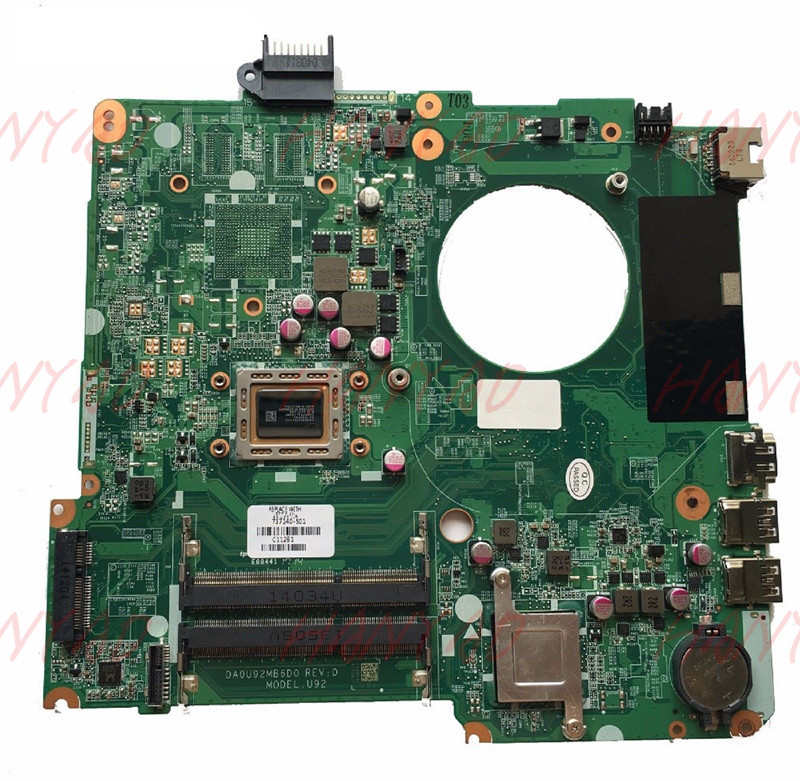for HP PAVILION 15-N Laptop Motherboard 737140-501 737140-001 DA0U92MB6D0 REVD A8 CPU Free Shipping 100% test ok