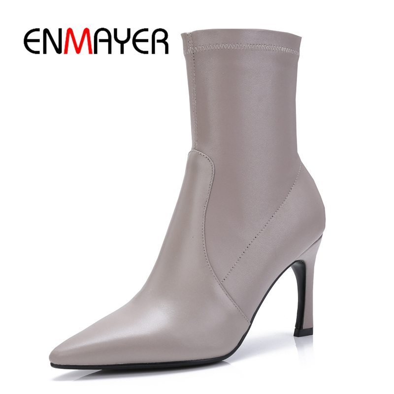 ENMAYER  Genuine Leather  Basic  Slip-On  Thin Heels  Ankle  Winter Boots Women  Botas Mujer Invierno Size34-40 ZYL1861ENMAYER  Genuine Leather  Basic  Slip-On  Thin Heels  Ankle  Winter Boots Women  Botas Mujer Invierno Size34-40 ZYL1861