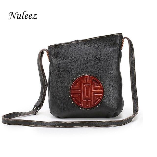 85ff4deb1fa0 Nuleez Brown Genuine Leather Bag Real Leather Handbags Bucket Women  Shoulder Messenger Cross-body Bags Chinese Mooncake Embossed