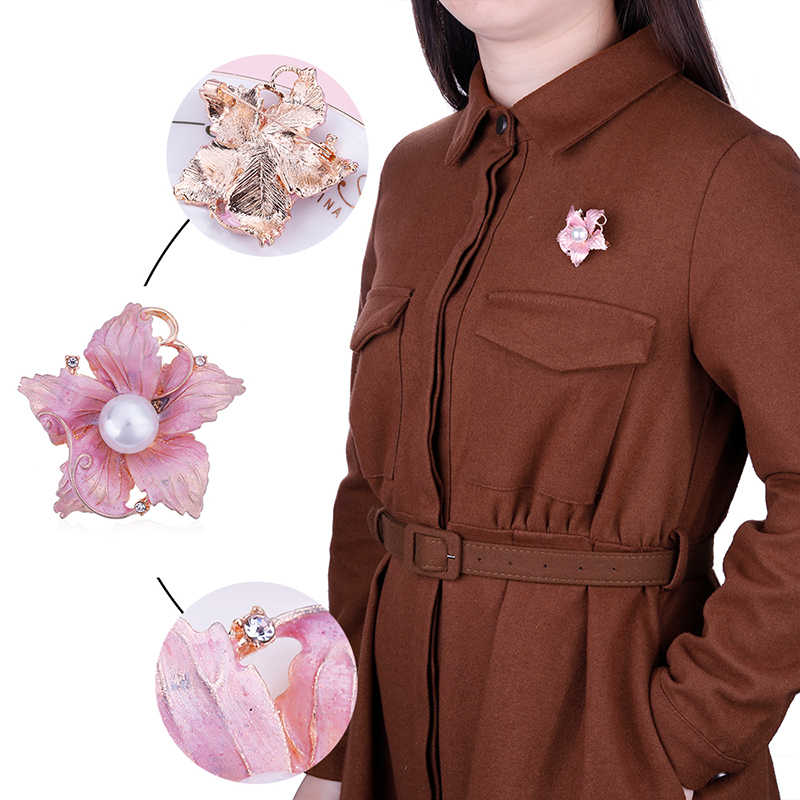 Allyes Besar Merah Muda Bunga Bros untuk Wanita Perhiasan Disimulasikan Mutiara Rhinestone Elegan Enamel Kerah Pin Bros