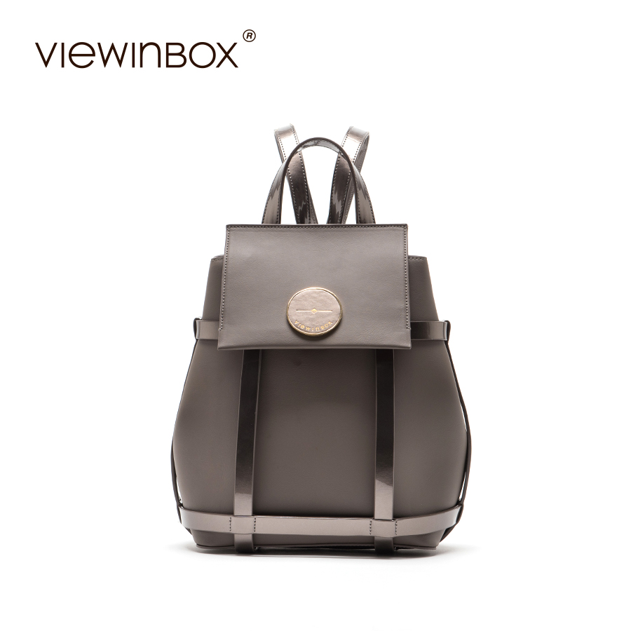 Viewinbox Famous Brand Solid Split Leather Women Bag Vintage High Quality Women Backpacks 2017 Hot Sale Fashion Causal Daypack