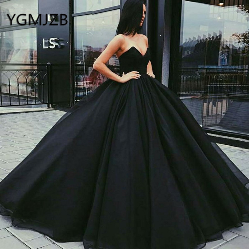 Sukienki Na Bal Puffy Black Prom Dresses 2019 Ball Gown Sweetheart Long Evening Dress Saudi Arabic Women Formal Prom Party Gown
