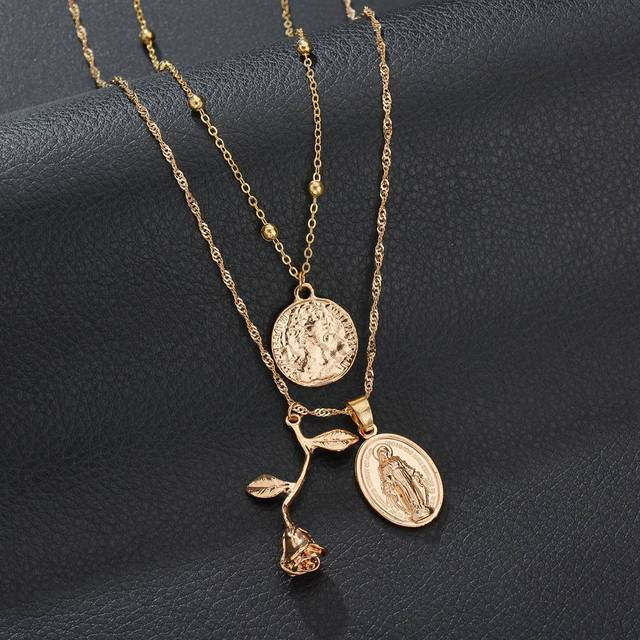 ZHIMO Delicate Rose Pendant Necklace Curved Round Necklace Gold Silver Chain Women Necklace Ladies Jewelry Birthday Gift