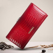 Luxury Womens Wallets and Purse Crocodile Pattern Genuine Leather Wallet Female Purse Long Coin Purses Card Holders Ladies Clut
