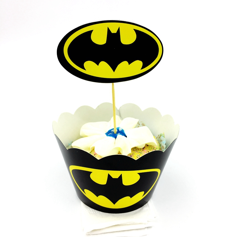 Sensational 24Pcs Lot Cartoon Batman Theme Cupcake Wrappers Topper Party Funny Birthday Cards Online Sheoxdamsfinfo