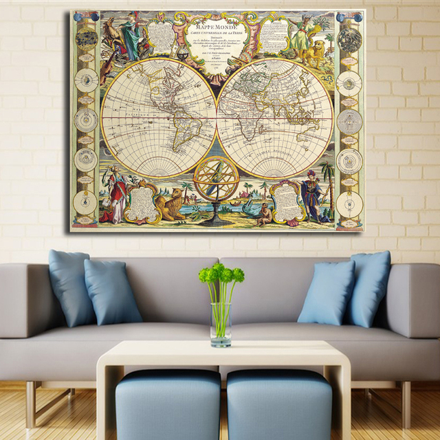 Middle Ages World Map Painting On Canvas Prints Large Size Wall Art Europe Style Picture For Living Room Home Office Decor