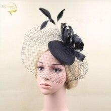 Свадебные шляпы для женщин старинные чистый черный аксессуары для новобрачных птичья клетка вуаль невесты чародей BH002