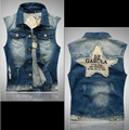 VXO  men Denim Vest Jacket embroidery motorcycle club pentagon patchwork 52   man Denim ves