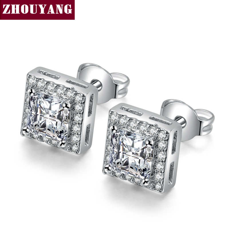 Classic Design Silver Color Princess-cut Square Cubic Zirconia Wedding Stud Earrings for Women ZYE846