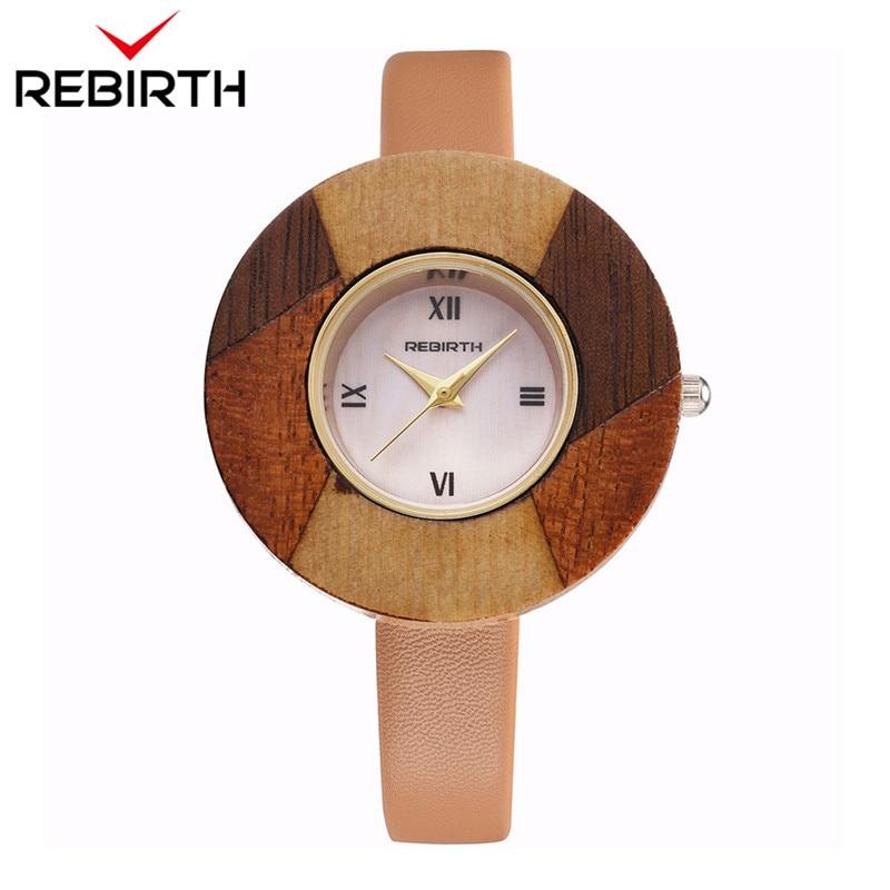REBIRTH Top Brand Luxury Relogios Femininos Women Watches Bamboo Wooden Ladies Watches Quartz Leather Strap Clock Classic Female