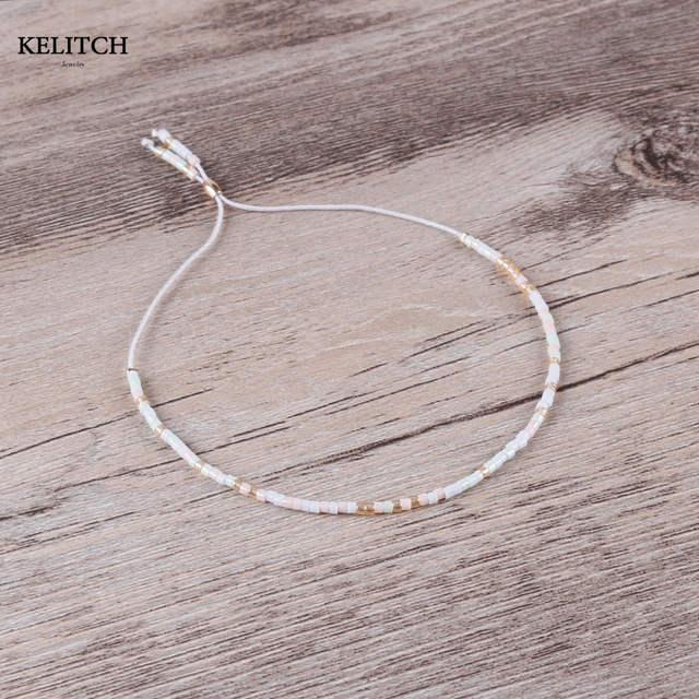 5217273e233e5 KELITCH bracelet Jewelry Friendship Bracelets 1Pcs Beige Crystal Seed Beads  Romantic Handmade Adjustable for best friends gifts