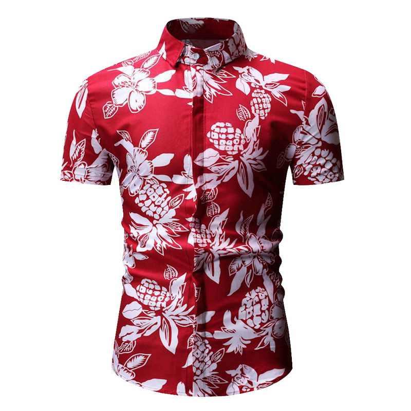 Puimentiua mężczyźni hawajska moda na co dzień krótkie z rękawami i nadrukiem koszula Slim Fit mężczyzna strój biznesowy koszula marki mężczyźni miękka odzież