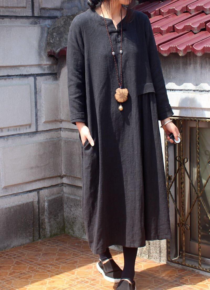 Manches Laver À O Lâche Femmes Robe De Noir Longues Linge 2018 Haut D'origine Robes Le Nouveau Gamme D418 cou w6HXq6