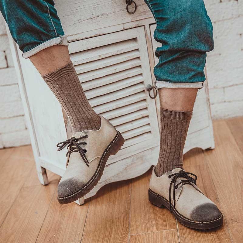 Mantieqingway Solid Color Black Socks for Mens Winter Warm Cotton Sock for Women Breathable Business Dress Long Tube Socks