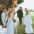 Country Long Sleeve White Wedding Dress Backless Beach Wedding Dresses Women Boho Wedding Gowns Bohemian Bridal Dresses PB17