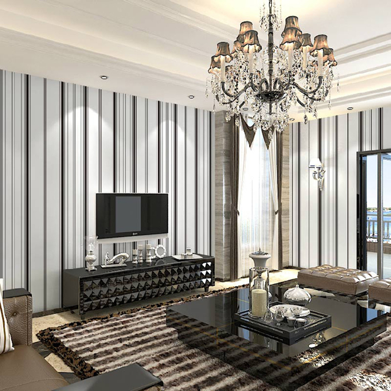 ФОТО Black and white striped wallpapers non-woven stripe wall paper for living room bedroom Black Stripes Wallpaper roll for Walls