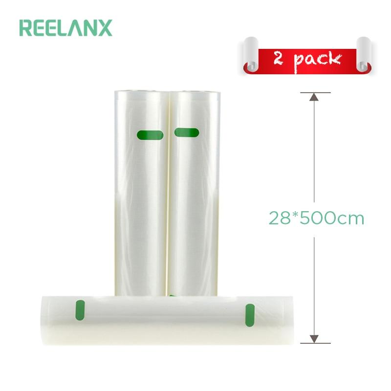 REELANX Vide Scellant Sacs 2 Rouleaux/1 Slot 28*500 cm Sacs De Stockage Des Aliments pour Scellant À Vide Sous vide Cuisine Frais D'emballage Alimentaire