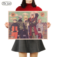TIE LER классический мультфильм Наруто баров рисунок Плакат Украшение Винтаж Плакат Ретро Наклейка на стену 50X35 см