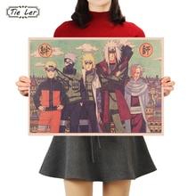 Corbata LER barras de dibujos animados de Naruto clásicas cartel de dibujos adorno cartel vintage Retro pegatina de pared 50X35cm