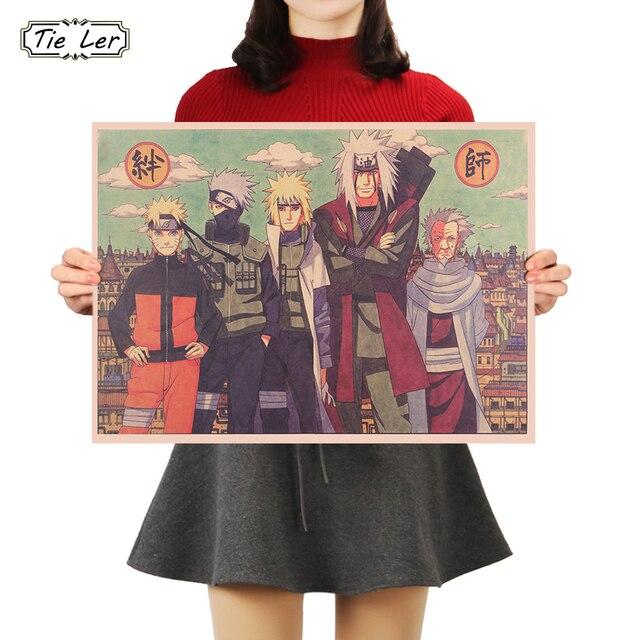 TIE LER Classic Cartoon Naruto Bars Drawing Poster Adornment Vintage Poster Retro Wall Sticker 50X35cm