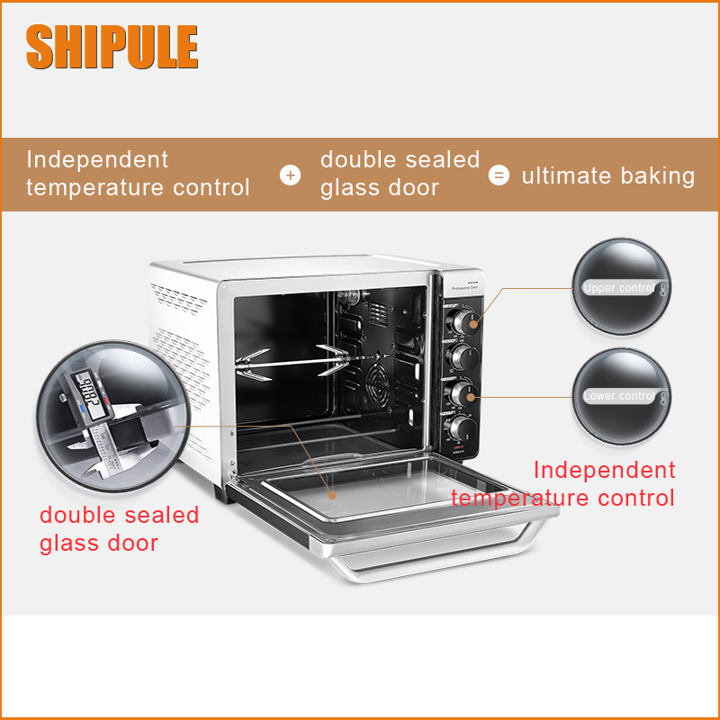 SHIPULE Oven Commercial Electric Baking Oven Bread Heating Pipe Independent Control Stainless Steel Precise temperature control shipule multi function electric ovens for home bakingcakes52l capacity mini stainless steel baking oven with hot plates