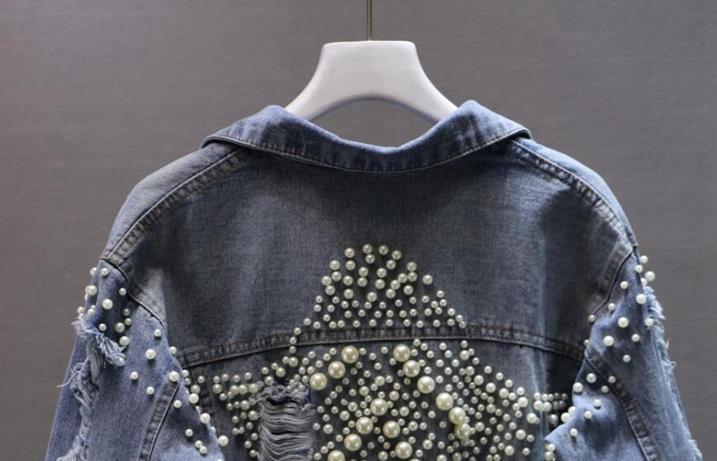 2018 秋の新韓国女性ファッションビーズ穴デニムジャケット長袖パールコート女性のジーンズコート 1834  グループ上の レディース衣服 からの ベーシックジャケット の中 1
