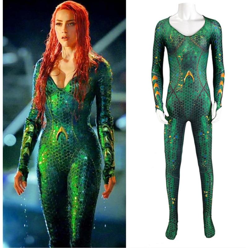 Película Aquaman Mera alianza de La justicia mar después de Mae La Hero mono de una sola pieza traje de Cosplay halloween fiesta de navidad