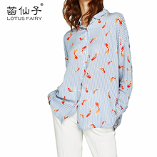 Chic goldfish print striped shirt women 2017 long sleeve cotton blouse fashion Top2017 autumn shirt turn-down collar office wear