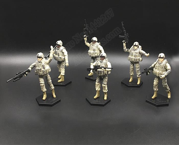 4D Model 6pcs/set 1:18 Movable Army Man Plastic Assembled Toy U.S.A 101st Airborne Division Soldiers