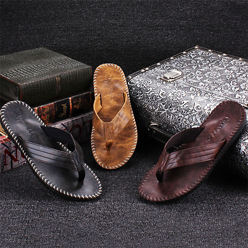 2018 New Summer Men Casual High Quality Male Stripe Flat Bath Slippers Summer Sandals Indoor & Outdoor Slippers