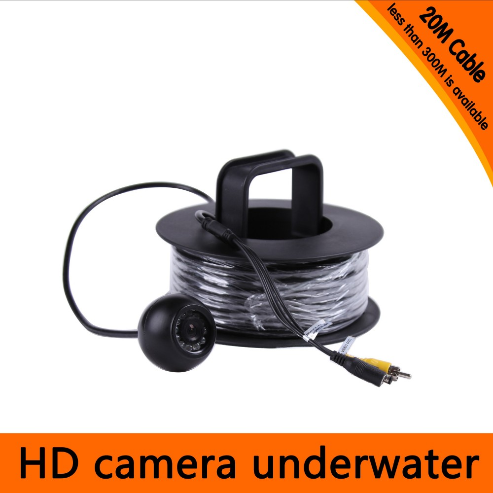 20Meters Depth Underwater Camera with 12PCS white LEDS & Leds Adjustable for Fish Finder & Diving Camera 20meters depth fish like underwater camera with 2pcs 2 walt white leds for fish finder