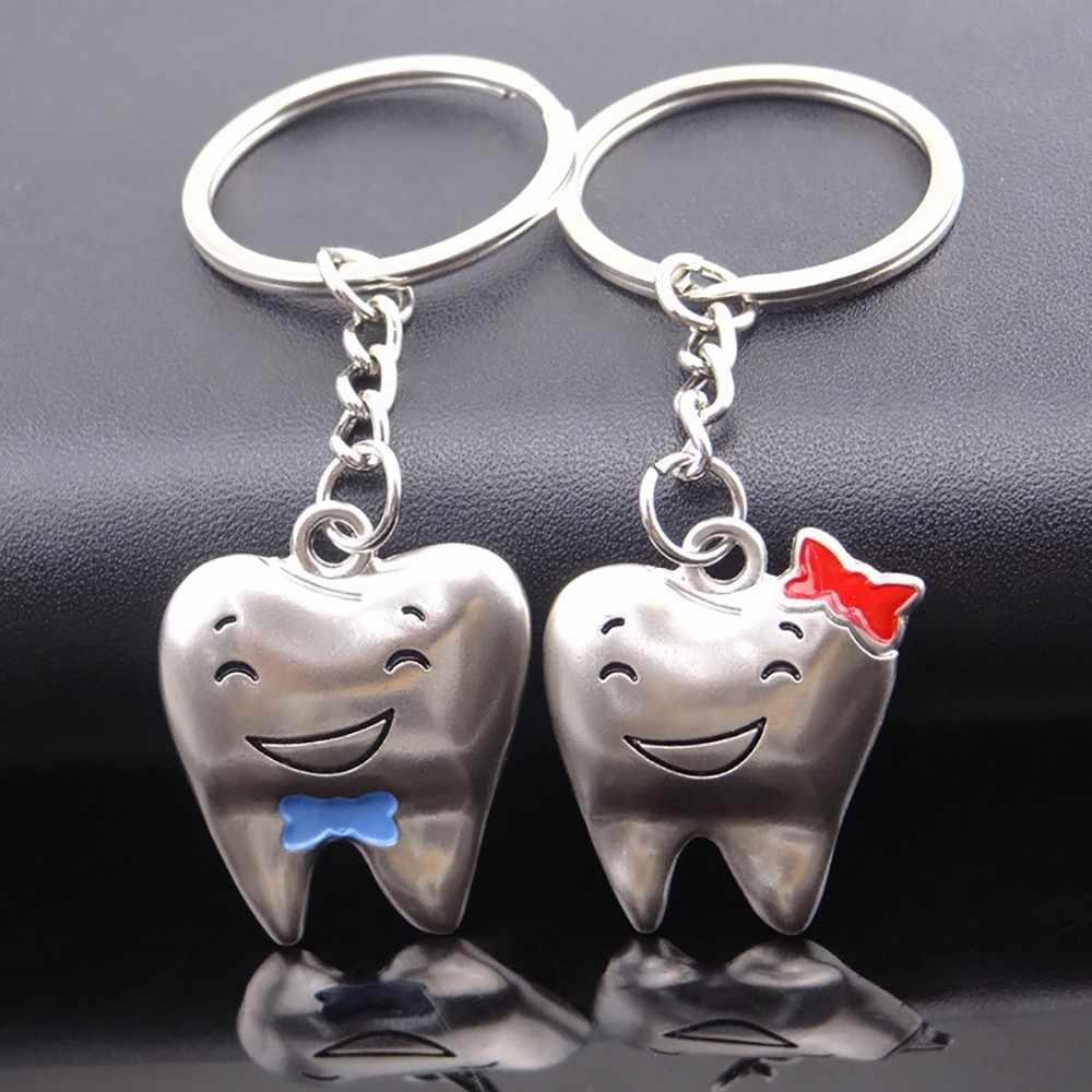 Keychain casal UM Par de Dentes Criativo Casal chaveiro Chave Anel de Metal Cadeia Chave Do Carro Pingente Atividade Llavero Chaveiros Para Meninas Casa